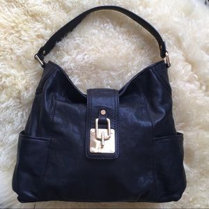 Michael Kors Black Leather Flap Hobo Shoulder Bag